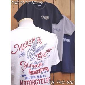 フラットヘッド Tシャツ FN-THC-016 MONSTER 丸胴半袖Tシャツ ブラック ホワイト ネイビー グレー theflathead|craft-ac