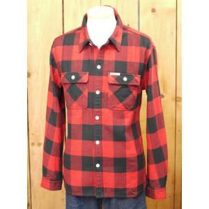 フラットヘッド ネルシャツ HN-52W ブロックチェックワークシャツ レッド|craft-ac