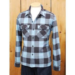 フラットヘッド ネルシャツ HN-52W ブロックチェックワークシャツ サックス|craft-ac