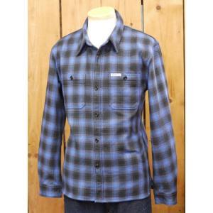 フラットヘッド ネルシャツ HN-64W チェックヘビーネルワークシャツ ブルー|craft-ac