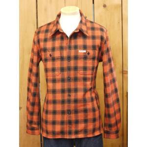 フラットヘッド ネルシャツ HN-64W チェックヘビーネルワークシャツ オレンジ|craft-ac
