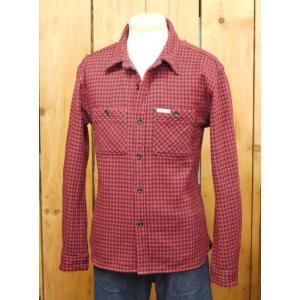フラットヘッド ネルシャツ HN-71W 千鳥ヘビーネルワークシャツ レッド×ブラック|craft-ac