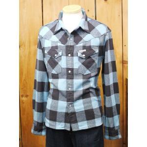 フラットヘッド ネルシャツ HNW-52W ブロックチェックウエスタンシャツ サックス|craft-ac
