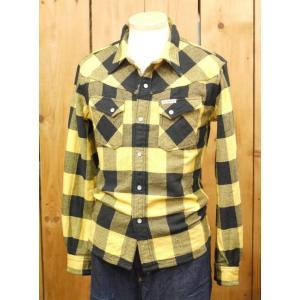 フラットヘッド ネルシャツ HNW-52W ブロックチェックウエスタンシャツ イエロー|craft-ac