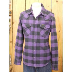 アイアンハート ネルシャツ IRON HEART IHSH-127 極厚ネルウエスタンシャツ パープル×ブラック|craft-ac