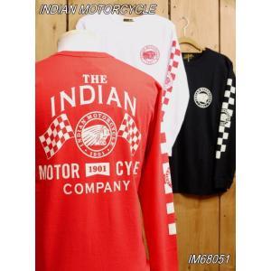 インディアンモーターサイクル CHECKER MOTIF 長袖Tシャツ ホワイト ブラック レッド IM68051 東洋エンタープライズ|craft-ac