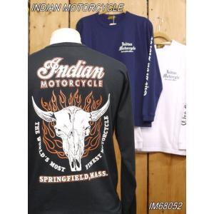 インディアンモーターサイクル COW HEAD 長袖Tシャツ ホワイト ブラック ネイビー IM68052 東洋エンタープライズ|craft-ac