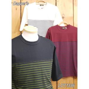 ダッパーズ 5分袖ボーダー切り替えTシャツ レッド ホワイト ブラック dappers LOT1336|craft-ac