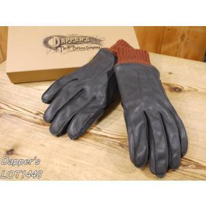 ダッパーズ  ホースハイドレザーグローブ ブラック×ブラウン 皮手袋 dappers LOT1448|craft-ac