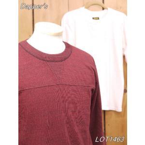 ダッパーズ ダブルガゼット 3/4 スリーブTシャツ バーガンディ オフホワイト dappers LOT1463|craft-ac