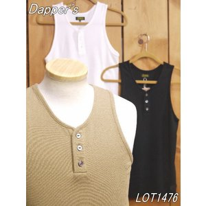 ダッパーズ Vヘンリーネック テレコタンクトップ ベージュ ホワイト ブラック dappers LOT1476|craft-ac