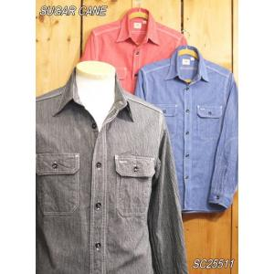 シュガーケーン ジーンコードワークシャツ ネイビー レッド ブラック SUGAR CANE SC25511|craft-ac