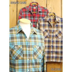 シュガーケーン ツイルチェックワークシャツ ブルー レッド オフホワイト sc27383|craft-ac