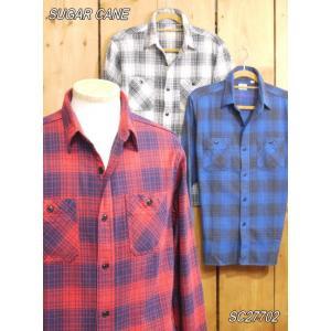 シュガーケーン ツイルチェックネルワークシャツ オフホワイト ネイビー レッド SC27702 SUGAR CANE|craft-ac