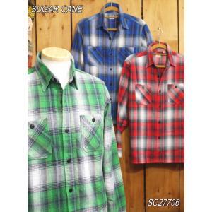 シュガーケーン ツイルチェックネルワークシャツ ブルー グリーン レッド SC27706 SUGAR CANE|craft-ac