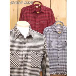 シュガーケーン ツイルチェック ネルワークシャツ ブルー ベージュ レッド SC28229|craft-ac