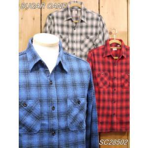 シュガーケーン ツイルチェック ネルワークシャツ ネイビー ベージュ レッド SC28502|craft-ac