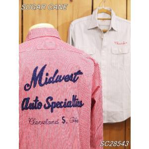シュガーケーン チェーン刺繍 ヒッコリーワークシャツ レッド ホワイト SC28543|craft-ac