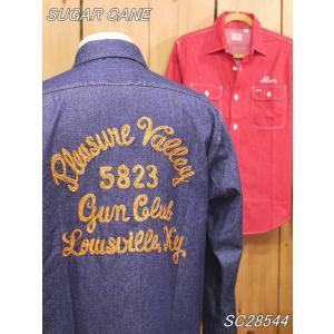 シュガーケーン チェーン刺繍 デニムワークシャツ ネイビー ネイビー SC28544|craft-ac