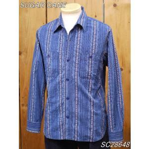 シュガーケーン ネイティブアメリカン インディゴストライプ ワークシャツ SC28648 sugarcane|craft-ac