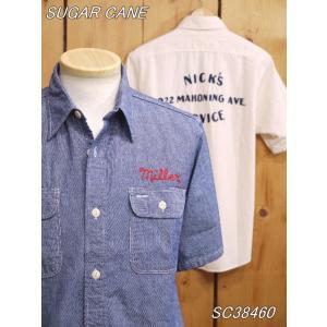 シュガーケーン  シャンブレー バック刺繍半袖ワークシャツ SC38460 sugarcane|craft-ac