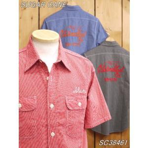 シュガーケーン  ジーンコード バック刺繍半袖ワークシャツ SC38461 sugarcane|craft-ac
