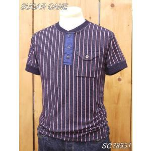 シュガーケーン  インディゴドビーストライプヘンリーネックTシャツ SC78531 sugarcane|craft-ac