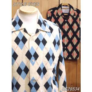 スタイルアイズ SE28534 ARGYLE コーディロイ オープンシャツ オフホワイト ブラック|craft-ac