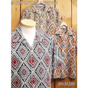 スターオブハリウッド GEOMETRIC DIAMOND 半袖オープンシャツ ブルー イエロー オレンジ SH38386 star of hollyeood|craft-ac