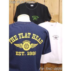 フラットヘッド Tシャツ THC-202 FH FLYING WHEEL 丸胴半袖Tシャツ サックス ネイビー ホワイト ブラック flathead|craft-ac