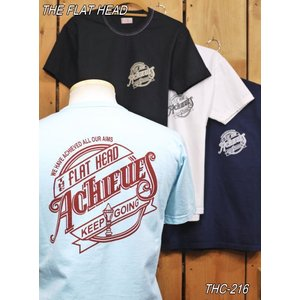 フラットヘッド Tシャツ THC-216 ACHIEVES 丸胴半袖Tシャツ ブラック ホワイト サックス ネイビー flathead|craft-ac