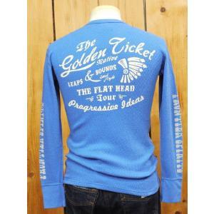 フラットヘッド Tシャツ THL-AC01W 別注 GOLDEN TICKET サーマルTシャツ ロイヤルブルー|craft-ac