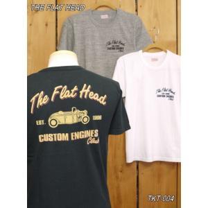 フラットヘッド Tシャツ TKT-004W CUSTOM ENGINES CLUB Tシャツ ブラック ホワイト グレー|craft-ac
