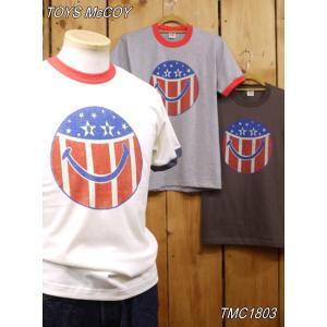 トイズマッコイ スマイルTシャツ TMC1803 フィールソーグッド Tシャツ ダークチャコール オフホワイト アッシュ|craft-ac
