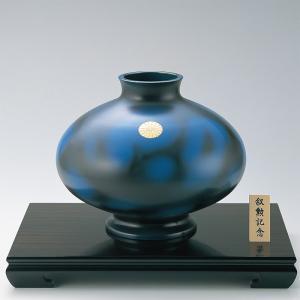 青銅製花瓶 平型12号 彫金菊紋入り 木製わらび花台16号付|craft-crowd