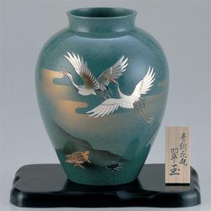 青銅製花瓶 翠玉 彫金鶴亀 木製平板(8号)付|craft-crowd
