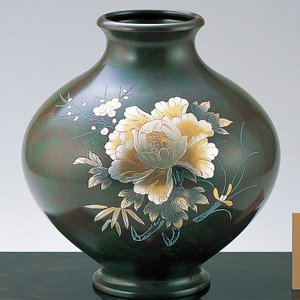 青銅製花瓶 寿型10号 彫金牡丹 木製みずき花台(13号)付|craft-crowd