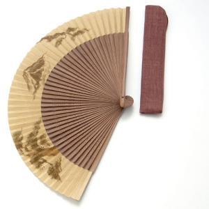 周年記念 創業記念 名入れ記念品  紳士用京扇子大短地絹張 松富士山と差し袋付き|craft-crowd