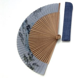 周年記念 創業記念 名入れ記念品  紳士用京扇子大短地絹張 鮎と差し袋付き|craft-crowd