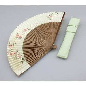 婦人用京扇子 手描絵(さくら)と差し袋セット|craft-crowd