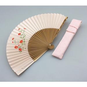 婦人用京扇子 撫子(なでしこ)と差し袋セット|craft-crowd