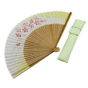 周年記念 創業記念 名入れ記念品 綿100% 婦人用京扇子和花プリント 桜黄緑と差し袋付き|craft-crowd