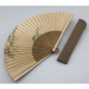 周年記念 創業記念 名入れ記念品  紳士用京扇子薄茶地竹風と差し袋付き|craft-crowd