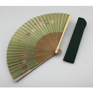周年記念 創業記念 名入れ記念品  紳士用京扇子緑地つばめと差し袋付き|craft-crowd