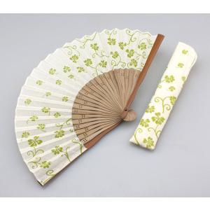 周年記念 創業記念 名入れ記念品 綿100% 婦人用京扇子手拭プリント 四葉と差し袋付き|craft-crowd