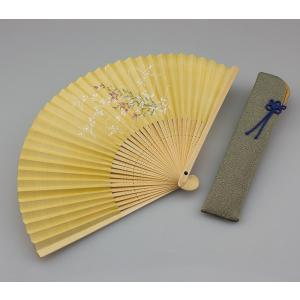 周年記念 創業記念 名入れ記念品 婦人用京扇子 桔梗と差し袋付き|craft-crowd