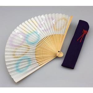 周年記念 創業記念 名入れ記念品 婦人用京扇子 蝶と差し袋付き|craft-crowd
