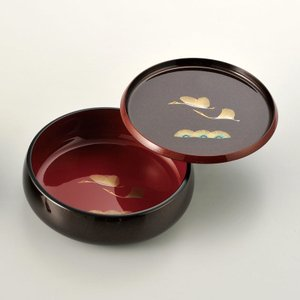 菓子鉢8寸 丸盆付 天平鶴|craft-crowd