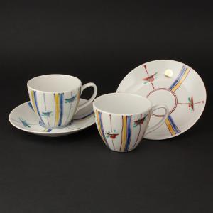 周年記念 お祝い 創立記念 創業記念 還暦祝い 退職記念  おしゃれ「九谷焼ペアコーヒーカップ&ソーサー 十草(とぐさ)」|craft-crowd