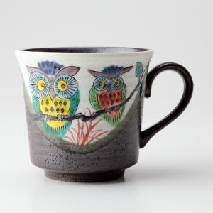 周年記念 お祝い 創立記念 創業記念 還暦祝い 退職記念  おしゃれ「九谷焼マグカップ ふくろう」|craft-crowd